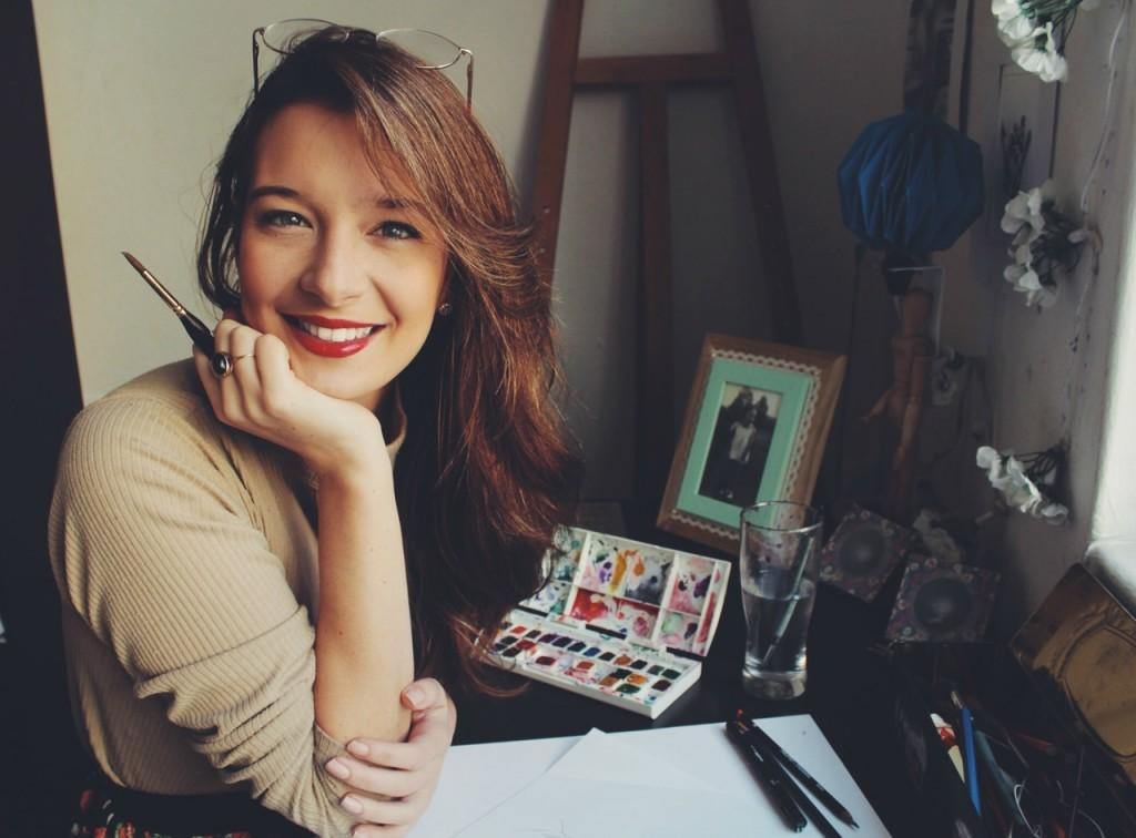 Jess with paints