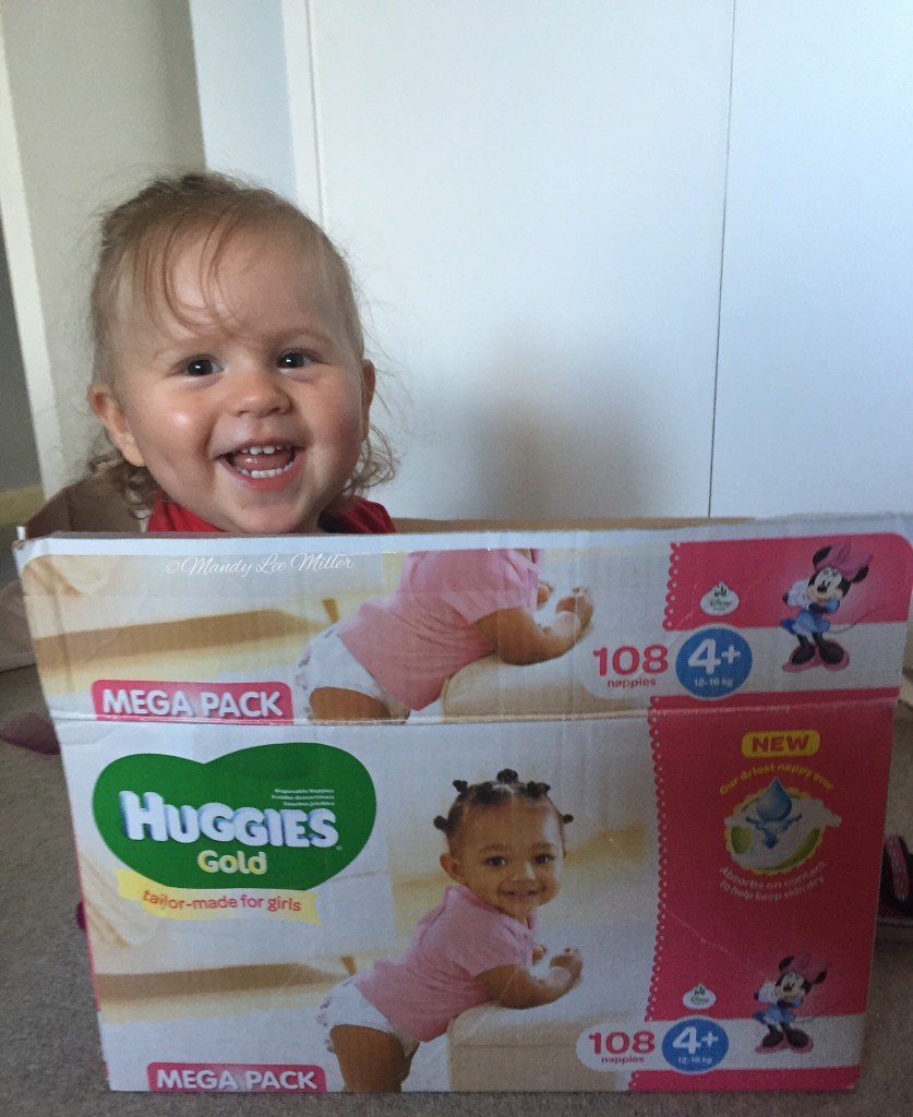 Charly in a #HuggiesGold box