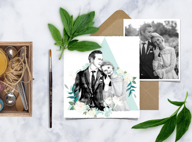 christmas magic with watercolour heart wedding