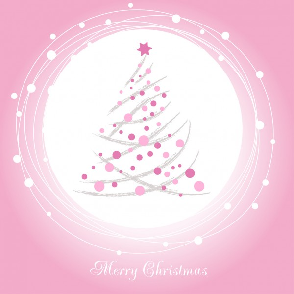Christmas tree with pink bauble