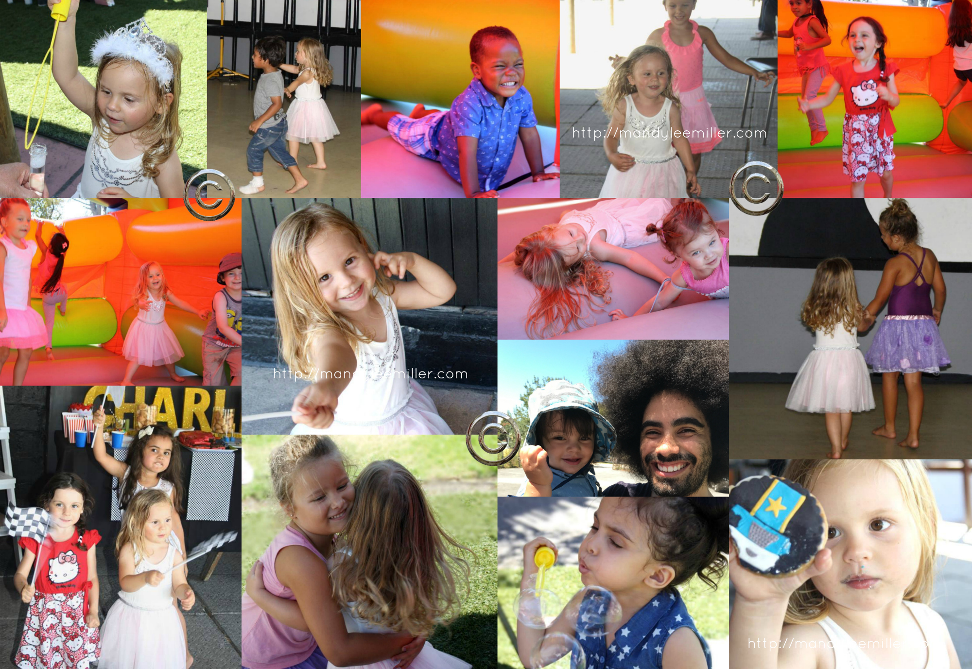 A third birthday party collage